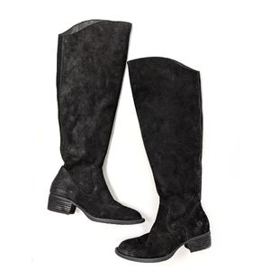 Born Borda Black Suede Over The Knee Boots size 6